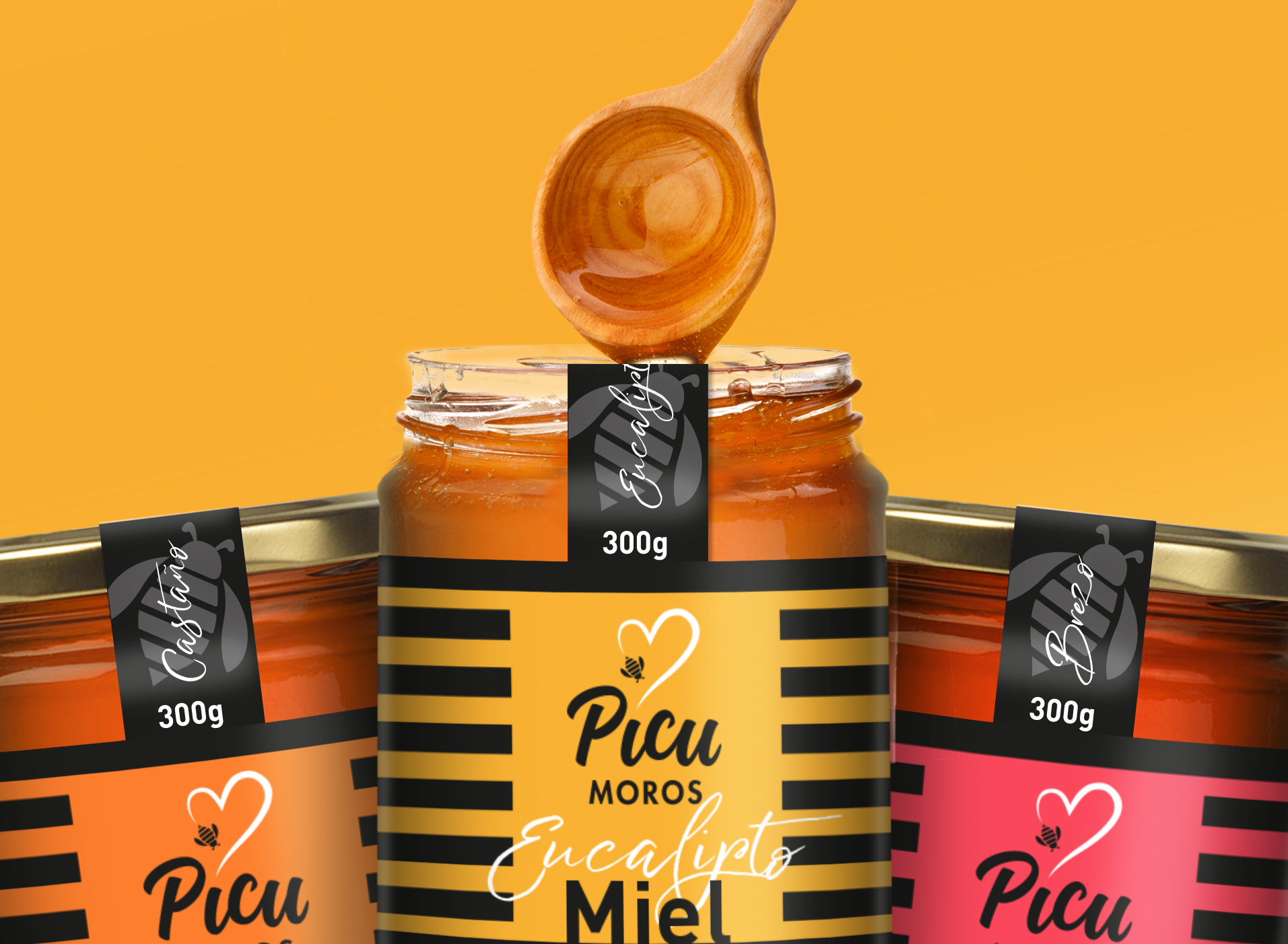Packaging and branding design for a Honey brand