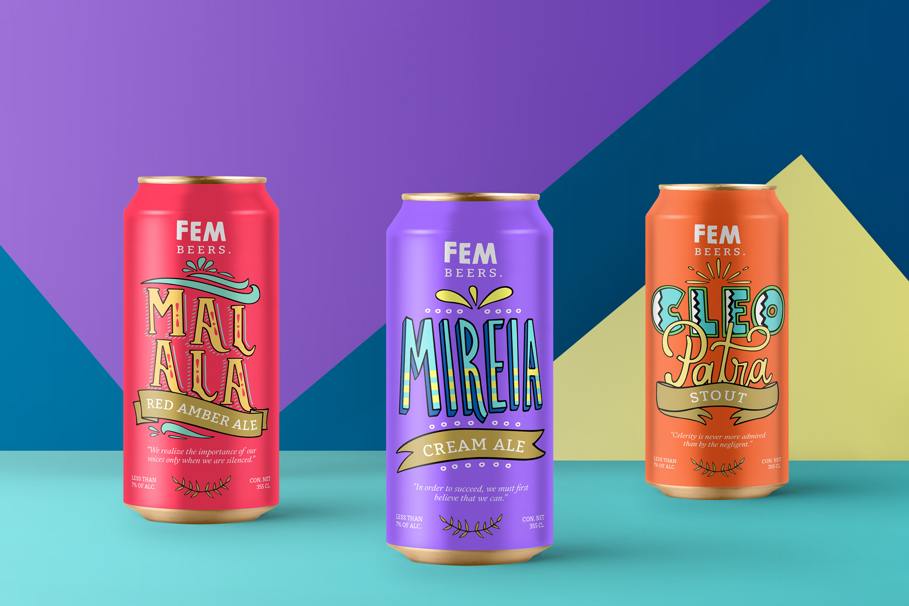 Branding and Packaging design cans for Fem brand