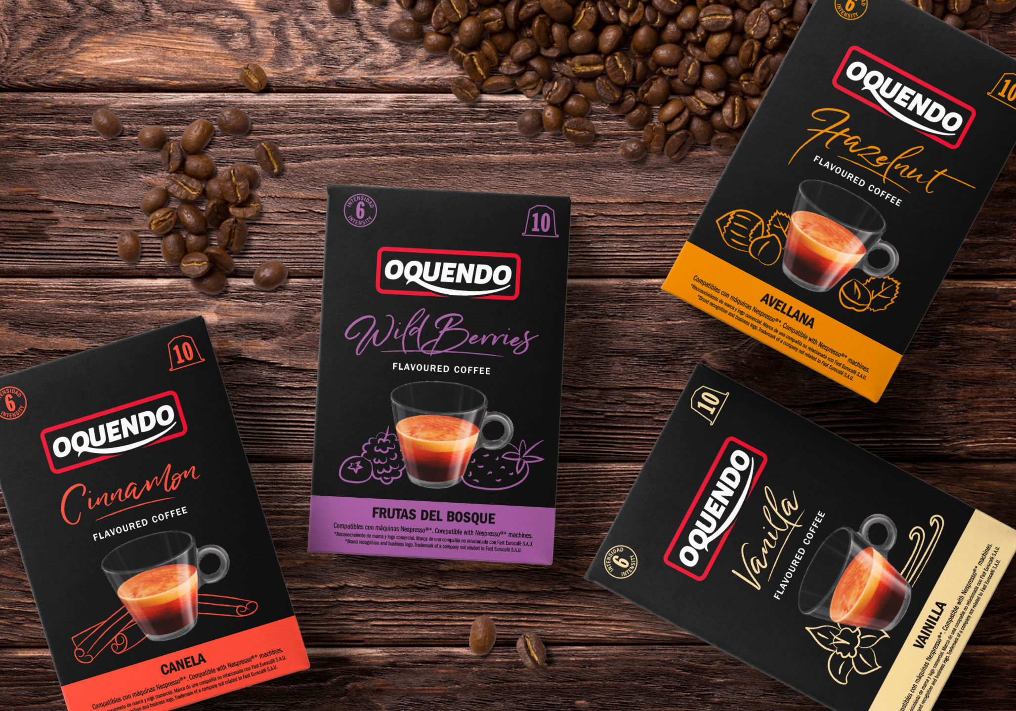 Packaging design Coffee Capsules for Oquendo brand