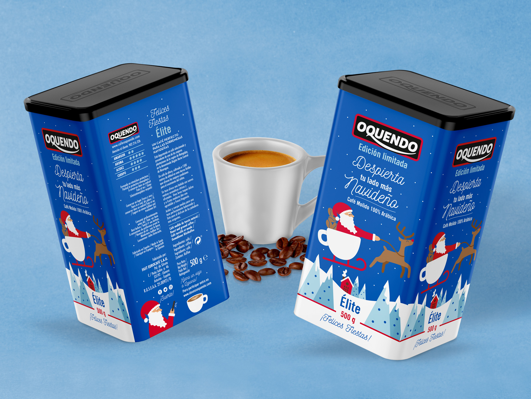 Oquendo Christmas design coffee packaging
